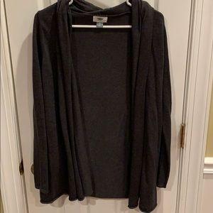 Gray flowy cardigan sweater